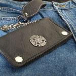 Wallet-Celtic, mit Celtic Cross Concho, weich, Komplett Leder, innen und aussen
