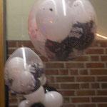 Geschenkballone können auch als Lampionersatz zur Raumdekoration dienen. Kosten pro Stück: € 5,- (Ballone im Ballon ohne Konfetti, Dekorationsuntergrund und Luftschlangen)