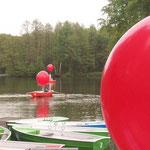 Kunstaktion auf dem Mühlenteich der Tüschenbroicher Mühle. Jeder Ballon hob eine Stoffbahn von 300 gramm auf. Durchmesser Einzeballon: 150 cm. Preis bei Selbstabholung: € 70,- (100 cm Durchmesser nur € 20,-)