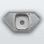 WW-9550B   Кухонная мойка из нержавеющей стали Покрытие:Глянцевая Размеры: 950х500 мм Толщина стали: 0,8 мм Глубина чаши: 180 мм Размер чаши: 350х400 мм Расположение чаши: по центру Комплектация: мойка + сифон + уплотнитель + крепления