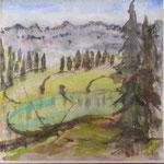 Seebensee mit Churfirsten, Aquarell, Collage, chin. Tusche, 2015