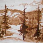Landschaft im Appenzellischen, Sepiatusche Monochrom, 24x30 cm, 2018, verkauft