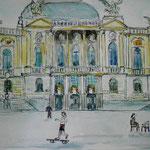 Opernhaus Zürich, colorierte Federzeichnung, 2016, verkauft