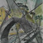 Brücke in Ligurien, Kohle, Pastellstifte, 30x40, 2020