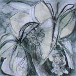 Blütenformen, Kohle, Bleistift, Kreide, 25x25 cm, 2019