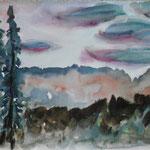 Föhnstimmung im Winter, Aquarell , chin. Tusche, A4 quer,  2017