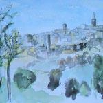 Pitigliano (Toscana), Aquarell/chinesische  Tusche, 30 x 40 cm, 2017