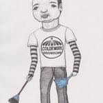 「ファッション通信」掃除の青年