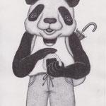 パンダがおむすびを握ります
