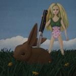 Da Barbie schon immer lieber lange Ohren als lange Beine gehabt hätte, hatte sich ihr Neid auf Hasen ins Pathologische gesteigert; Öl auf Leinwand, 80 x 80 cm