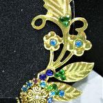 bellissimo ramo placcata oro 24 Kt e strass tono smeraldo e zaffiro
