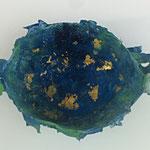"""Schale """"Ozean"""", Pappmache, Blattgold, 0,60x0,60"""