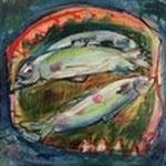 """""""Forellen"""", Acryl, Leinwand, 0,40x0,40"""