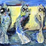 """""""Fische"""", Acryl, Leinwand, Pappmache, 0,30x0,20"""