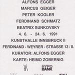 Alfons Egger Kurator 1991 Kunsthalle  II IBK