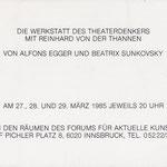 Einladung Die Werkstatt des Theaterdenkers Alfons Egger Beatrix Sunkovsky 1986