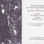 Einladung Alfons Egger Beatrix Sunkovsky DIE ROTE  PÄPSTIN 1983