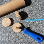 Arbeitsuntensilien mit Material