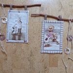 Kleine Wandbilder mit Strandmotiven, mit natürlicher Deko