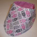 Eulen rosa-grau, hinten Baumwollstoff rosa