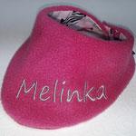 oder Fleece in pink, hier mit Schrift in grau