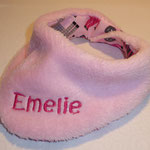 mit Fleece in rosa und Schrift in pink