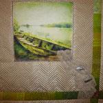 """Der Hintergrundstoff und das Bildmotiv waren Stoffe der Kundin: """"mach ein Wandbild draus..."""""""
