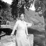 1929. Lina grandmother in front of the hydro-electric power station of Campovico (SO).