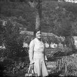 1929. Lina grandmother. On the background: the hydro-electric power station of Campovico (SO).