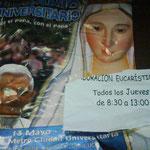 Detalle del cartel de Adoración eucarística.