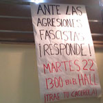Detalle del cartel convocando la cacerolada del martes 22 de marzo.