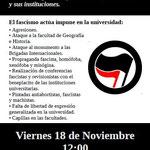 Panfleto de la convocatoria de la manifestación anarquista contra el fascismo.
