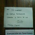 Mensaje del capellán avisando del cierre de la capilla por motivos de seguridad.