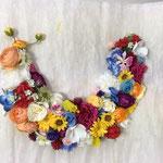 クレッセントの花の壁掛け No2465 ¥12.000 サイズ:W25cm H70㎝ マルチの色を配色よくアジアンテーストでお部屋のインテリアに