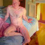 A difficult evening.162 x 130 cm. Oil on canvas.