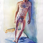Raul by the window. 44 x 30 cm. Watercolor on paper. (private collection)