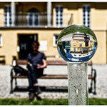glass sphere, man, building