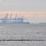 Blick von Wremen auf den Containerhafen