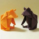 テディベア Teddy bear。ヴィベールという特殊な紙で折った物。