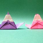 ふじさんびな Fuji-Hina。2017/11/05創作。ともに正方形1枚。
