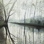 """""""Nebel am Vehlener Wehr"""" - 70 x 60 cm - Öl auf Leinwand"""