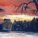 """""""Winterabend am Mausoleum"""" -  69 x 44 cm - Öl auf Leinwand - verkauft"""