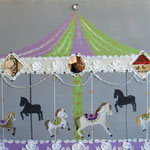 Merry go round mauve and green 80x120