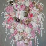 Bouquet rose sur lin 120x80