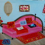 Le canape rose 100x80