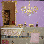 Hamam mauve and gold 60x60