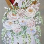 Miroir fleurs blanches 120x40