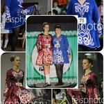Школьные платья для ирландских танцев. Школа Марии Сингал. Отделка тесьмой с блёстками.