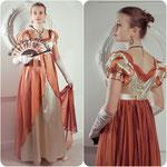 Стилизация платья ампир. Креп-сатин, вуаль.