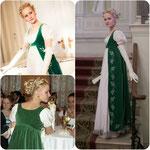 Полуплатье (open robe) зелёного бархата. Х/б бархат, шёлковая подкладка. На юбке - машинная вышивка колосками, каждый расшит серебряными блёстками.